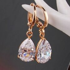 Wonderful bling bling white sapphire 18k gold filled modish dangle earring