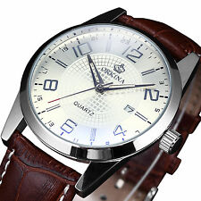 Orkina Date Elegant Genuine Coffee Leather Sport Quartz Mens Boys Wrist Watch