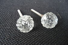 Clear Small Etched Glass Knob Drawer Pull  ~ Home Decor ~ Dresser Cabinet NEW