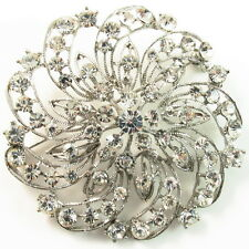 USA BROOCH Austrian Crystal PIN Bridal Wedding corsage SILVER vintage Flower B39