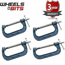 NEW 4x Heavy Duty G Clamp 3 Inch 75mm G-Clamps with Copper Screw with Swivel Pad