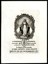 santino stampa popolare 1800 MARIA IMMACOLATA MEDAGLIA MIRACOLOSA in SIRACUSA