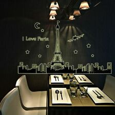 Paris Eiffel Tower Airplane Skyline Art Deco Wall Vinyl Decal Sticker For Home