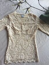 CAbi  Ivory Stretch Lace Over Nude Empire Waist SS Blouse Top Sz XS