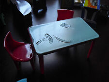 Lot of Vintage 1950s Plasco Dollhouse Furniture Kitchen Table and 2 Chairs