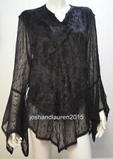 PLUS SIZE BOHO EMBROIDERY CHIFFON CRUSHED VELVET TUNIC TOP BLACK 16 18 20 22 24