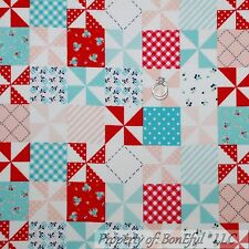 BonEful Fabric FQ Flannel Cotton Quilt Red White Blue Sm Patchwork Flower Calico