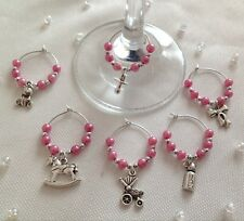 Set Of 6 x Wine Glass Charms, Ideal For Baby Shower Or Christening. Ideal Gift
