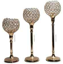 NEW GOLD SET OF 3 CANDLE HOLDER FOR TEA LIGHT CANDLES DIAMANTE CRYSTAL SWAROVSKI