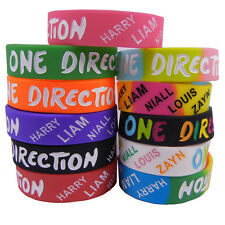 11x 1D Silicone Wristbands I Love One Direction Wide Rubber Bracelets Colorful
