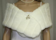 IVORY BRIDAL MINKY FAUX FUR WRAP SHRUG STOLE SHAWL NEW