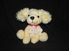 "Walmart Cream Puppy Dog Pink Collar Bone Tag Love Letter Hearts Plush 6"""