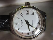 Antique Men's Renis Swiss made Automatic Watch w/ Date & Croco-Calf band vintage