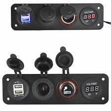 12V-24V Dual USB Cigarette Lighter Plug Socket Digital Volmeter Power Outlet