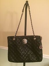 DKNY Black Quilted Leather W/Gold Chain/Accents Handbag EUC