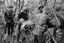 Vietnam War Photo Soldiers of the 101st Airborne carry a wounded buddy 1966 543