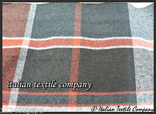 C148 LUXURIOUS LARGE PLAID CHECK WOOL BLEND COLOUR TONES RUST GREY IVORY BROWN