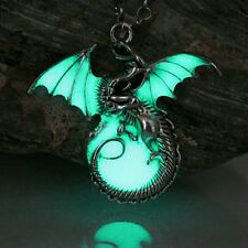 Gothic Punk Luminous Glow in Dark Chrome Dragon Pendant Necklace + Gift Bag UK