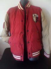 Who.A.U.Cali Denium Varsity Jacket  - Red / Beige- Men XL