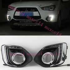 For Mitsubishi ASX 2013 2014 White LED Daytime Day Fog Lights DRL Run lamp
