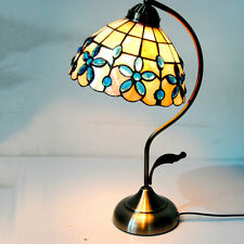 """Vintage Floral Tiffany Table Light W/ 8"""" Stained Glass Lamp Shade Bedroom Retro"""