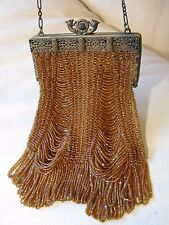 Antique Filigree Figural Lion Frame Knit Waterfall Amber Butterscotch Bead Purse