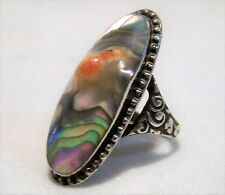Antique Abalone Blister Pearl Ring Sterling Silver Detailed Setting 5 3/4 1016DZ