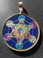 Metatron's Cube 1.5/8 Medallion Pendant Lapis Lazuli Sterling Silver Mystic Gift