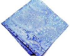 "US Seller New 10"" 100% Silk Pocket Square Men's Handkerchief Blue Paisley"