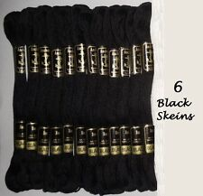 6 Anchor Cotton Cross Stitch 8m Embroidery Thread Skeins Most Basic BLACK Color