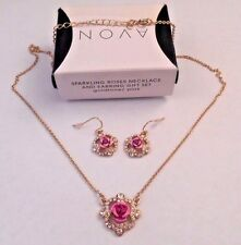 AVON SPARKLING ROSES NECKLACE AND EARRING GIFT SET PINK IN GOLDTONE NOS 2013