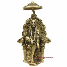 Brass Antique Shirdi Sai Baba Statue Sitting on a throne~For Prosperity & Wealth