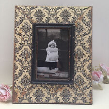 Rustic Shabby Chic Photo Frame Wooden Baroque Distressed Black & White Style