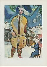 """1963 Vintage """"THE CELLIST, 1939"""" by MARC CHAGALL COLOR Art Plate Lithograph"""