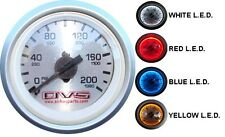 AVS Single Needle Gauge Silver Face 200 PSI with BLUE Color LED Air Ride