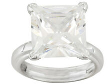 Bella Luce (R)11.70ct Princess Cut Rhodium Plated Sterling Silver Solitaire Ring