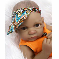 "11"" Boy Black Lifelike Reborn Baby Doll Soft Silicone Lifelike Soft Vinyl gift"