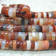 "Carnelian Agate 10mm Heishi Rondelle Large 2mm Hole Beads 8"" Leather Chain Wrap"