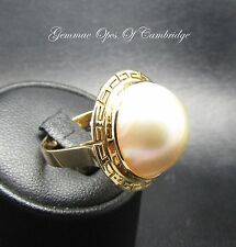 14ct Gold 16mm Mabe Pearl Solitaire Ring Size O 1/2 6g