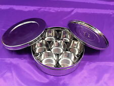 160mm Polished Stainless Steel Indian Masala Dabba Spice Tin / Box
