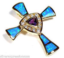 18K Gold Plated 925 Sterling Silver, Amethyst & Blue Fire Opal Cross Pendant