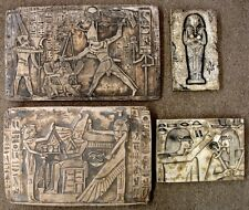 Lot of 4 Ancient Egyptian Wall Fragments King Tut, Ramses, Isis