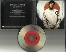 CRAIG DAVID 7 days w/ ULTRA RARE INSTRUMENTAL RADIO PROMO DJ CD single 2001