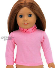 """Pink Long Sleeve T-Shirt Ruffle Neck for 18"""" American Girl Doll Clothes"""