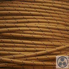 Textilkabel Stoffkabel Lampen-Kabel Stromkabel Elektrokabel Gold Punkte 3adrig