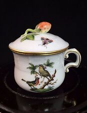 Vintage Herend Hungary Rothschild Bird Gold Covered Sugar Bowl Cup with Lid