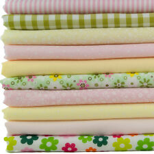 Fat Quarter Bundle x10 - Easter Spring Pastel Pink, Green & Yellow Spots Gingham