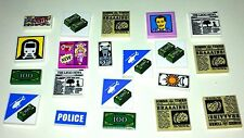 20 LEGO NEW ORIGINAL PRINTED TILES - SIGNS & NEWSPAPERS MONEY DOLLARS