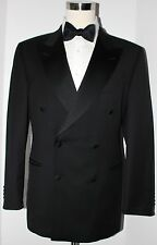 Ermenegildo Zegna Black Wool Six Button Double Vented Tuxedo Suit 45 R 39 30