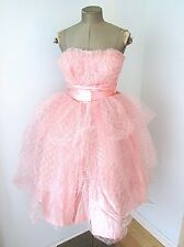Vtg 50s Pink Satin Sparkle Tulle Strapless Prom Ball Gown Formal Tea Dress XS